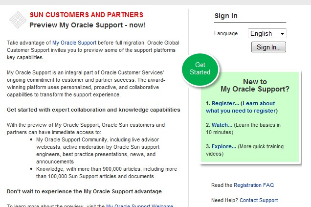 New to My Oracle Support?