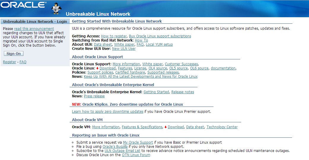Unbreakable Linux Network
