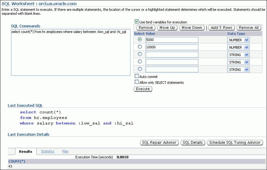 Oracle Enterprise Manager 中的绑定变量