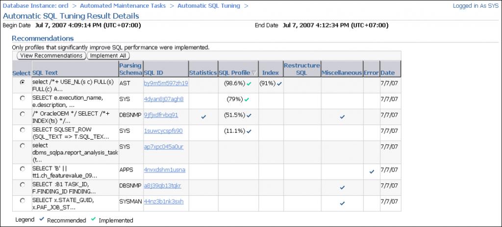 自动 SQL 优化:结果详细资料