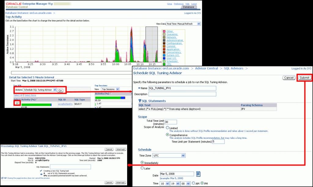 运行 SQL 优化指导:示例