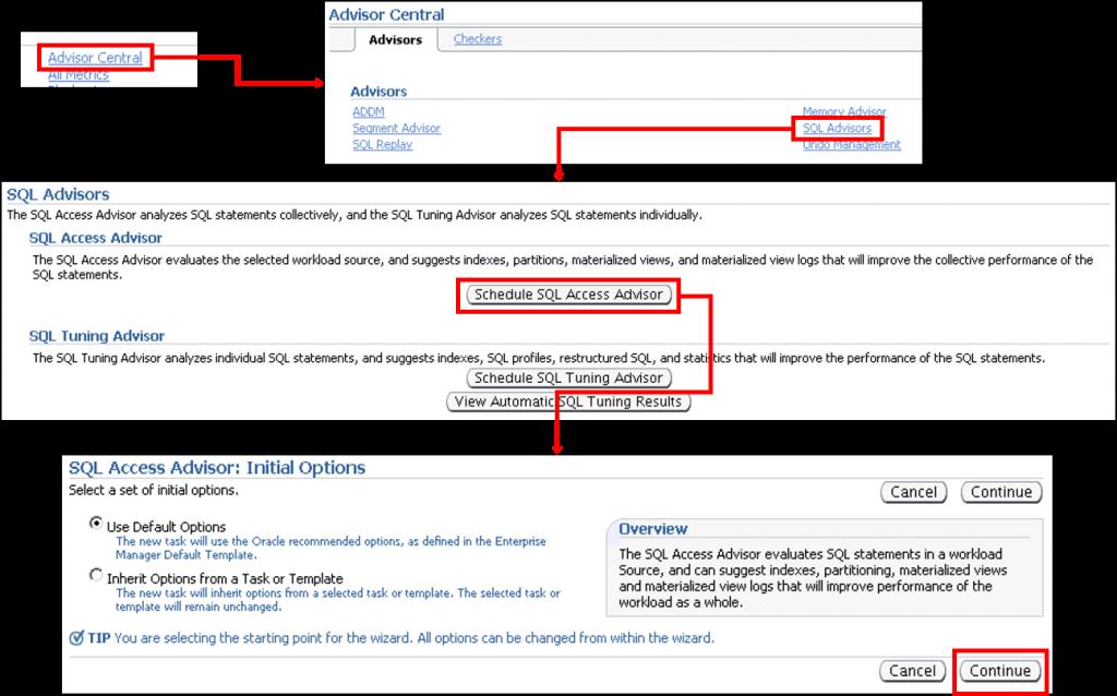 SQL 访问指导会话:初始选项