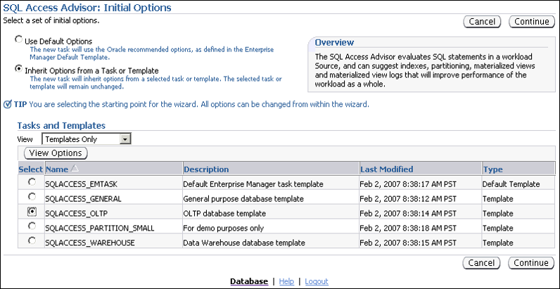 SQL 访问指导会话:初始选项1